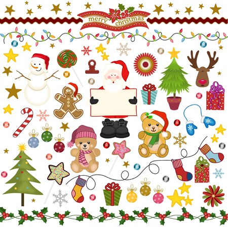 teddy bear christmas: Christmas Digital Scrapbook Illustration