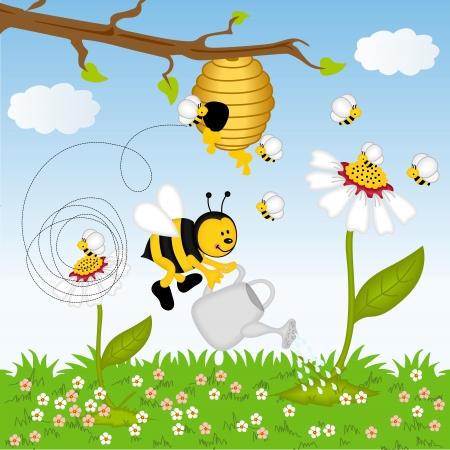 abeja caricatura: Abeja flor de riego en el bosque