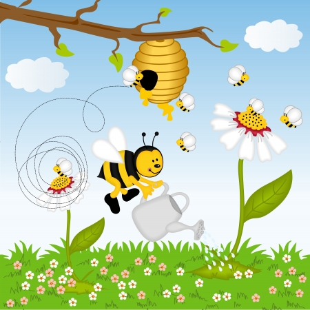 Bee watering flower in the forest Vector