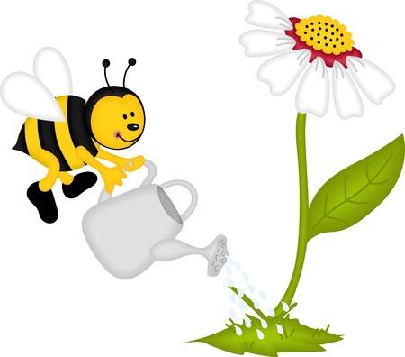 Bee watering flower Vector
