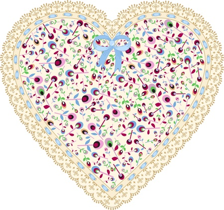 Lace heart cloth patch Stock Vector - 16428176