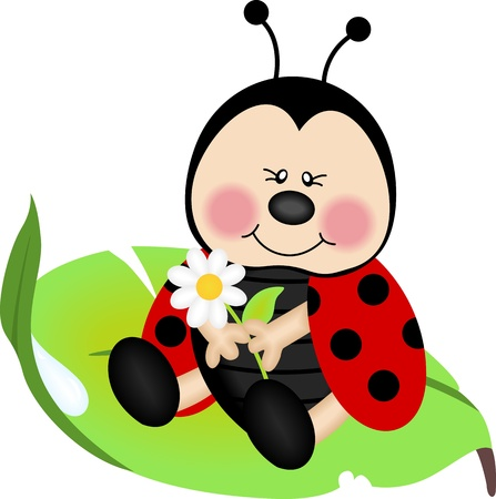 Ladybug sitting on a green leaf Ilustracja