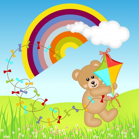 Teddy Bear with Kite Wind on Rainbow Vector