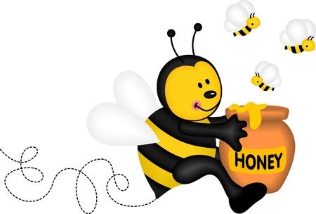 abeja caricatura: Abeja que sostiene un pote de miel