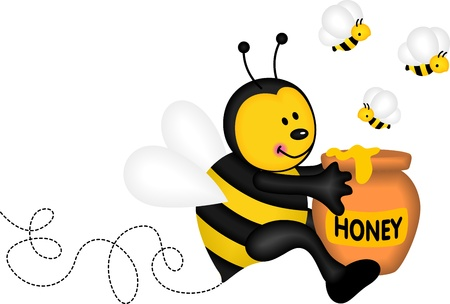 Bee holding a pot of honey