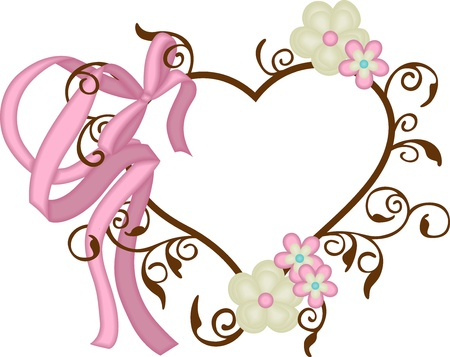 Heart frame with ribbon bow and flowers