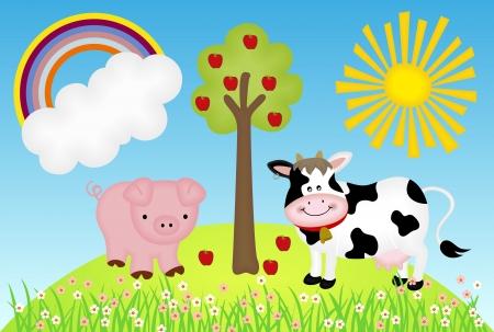 オープンエア: 牛と豚の図はファーム  イラスト・ベクター素材