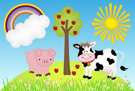 Illustration farm with cow and pig