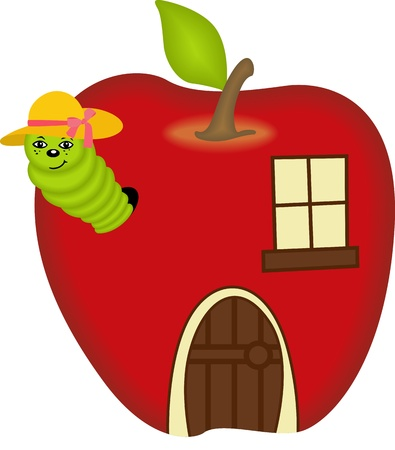 Cute female worm peeking in apple home Vector
