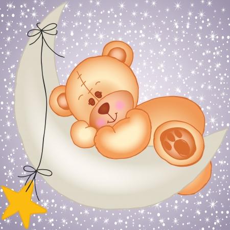geburt: Teddy bear auf einem Mond