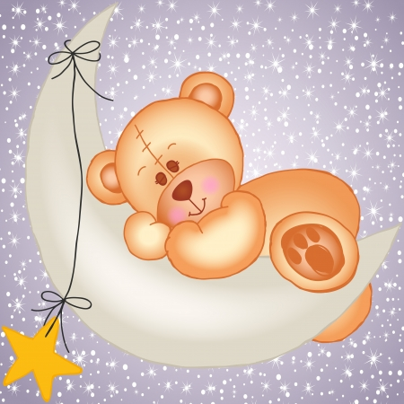 Teddy bear sleeping on a moon