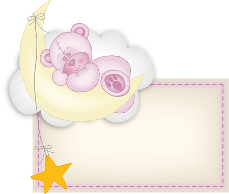 Baby girl label teddy bear sleeping on a moon Vector