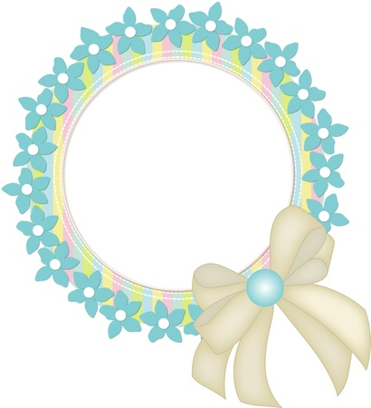Circle frame with flowers and ribbon Illustration