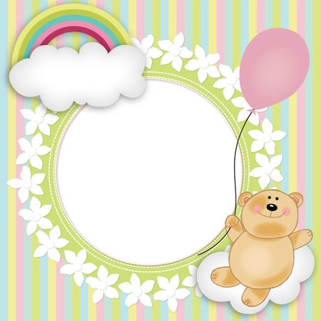 bear s: Layout for baby s teddy bear floating Illustration