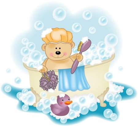 Teddy bear taking a bath Stock Vector - 16952839