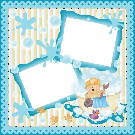 Digital scrapbooking layout teddy bear taking a bath Vector
