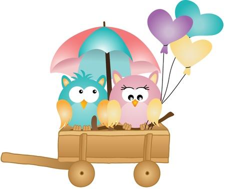 love in rain: Owls in spring rain