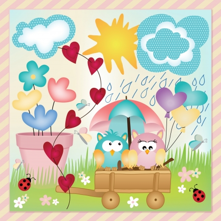 Owls in spring rain layout Vector