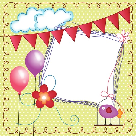 Digital scrapbook layout photo frames with bird cage Vector