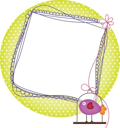 animal photo: frames with bird cage Illustration