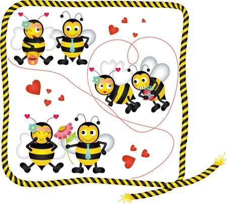 cute bee: Cute bees in love of a digital collage