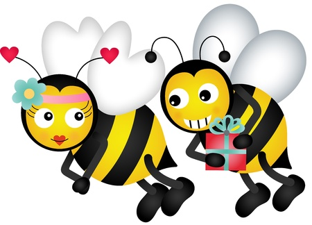 Cute bees in love Stock Vector - 17318072