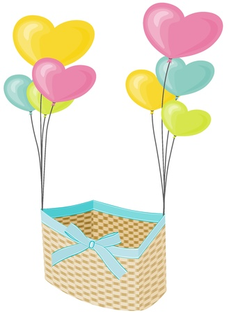 Wicker basket with hearts balloons