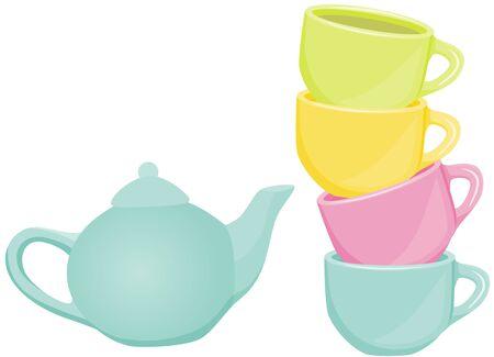 tea set: Tea set - cups and teapot