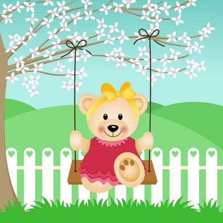 Little Bear on Swing Stock Vector - 17409181