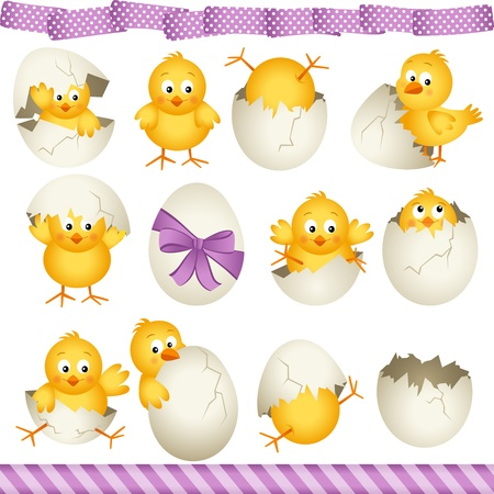 Easter eggs chicks Ilustracja