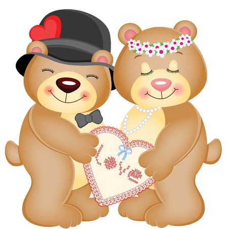 Love Heart Teddy Bears Vector