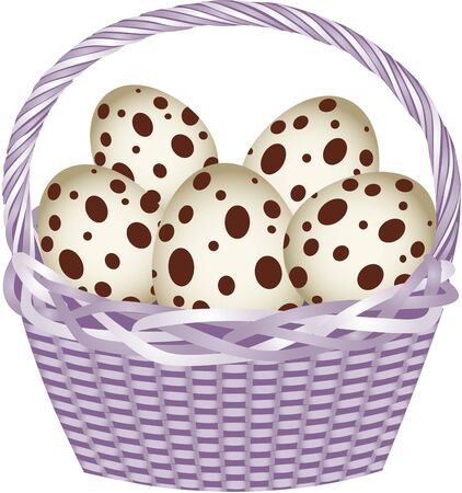 Basket with easter quail eggs Imagens - 17542739