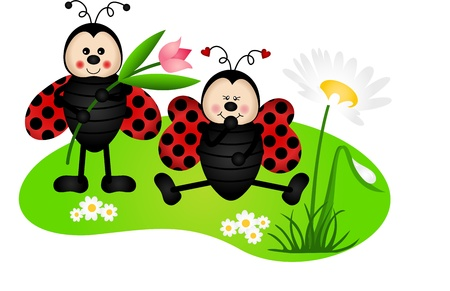 Two cute ladybugs in garden Vector