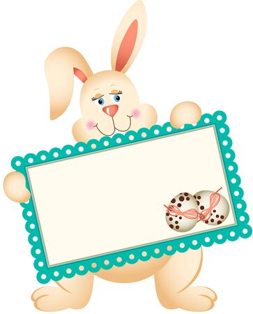 Easter Bunny holding greeting card Vector