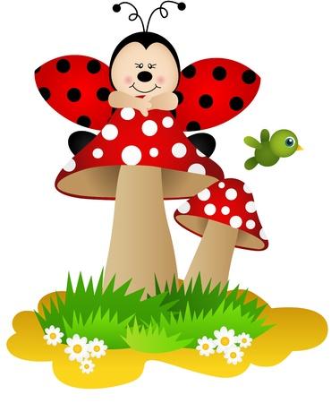 joaninha: Joaninha em um cogumelo Ilustra��o