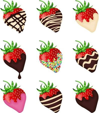 Chocolate covered strawberries Ilustracja