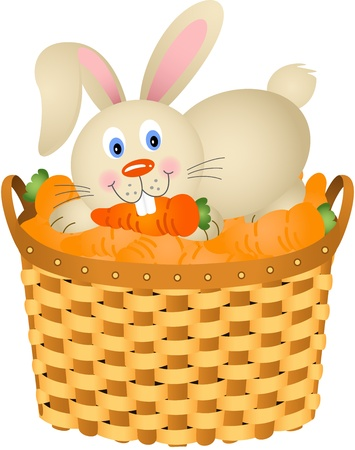Bunny in a basket with carrots Vector