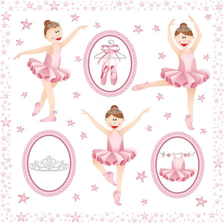 ballet tutu: Pink ballerina digital collage Illustration