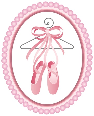 ballet ni�as: Zapatos de ballet etiqueta Vectores