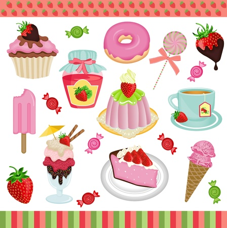 Strawberry candies digital collage Stock Vector - 17968161