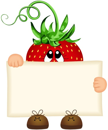 Strawberry holding a blank sign Vector