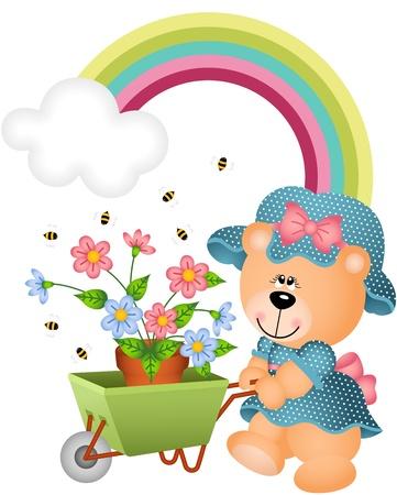 Teddy bear in the garden Illustration