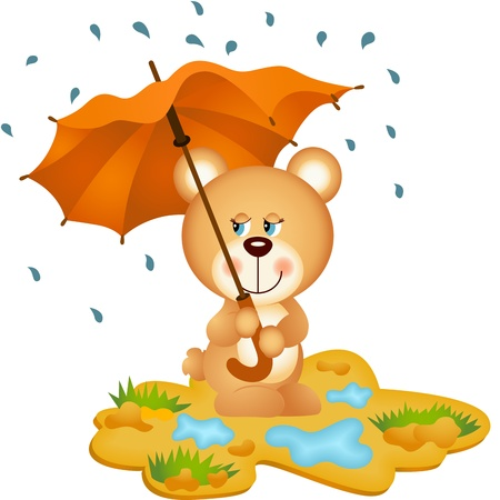 Teddy Bear Under Umbrella Vector