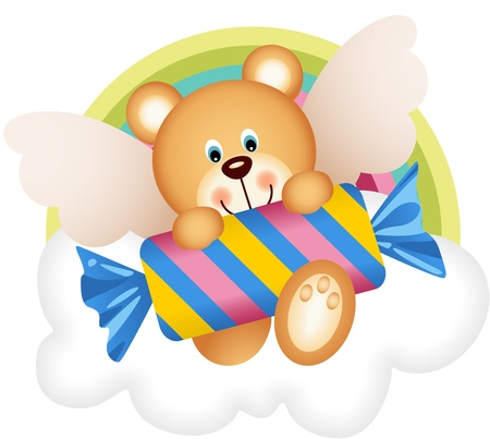 Teddy bear angel with candy on the cloud Vector