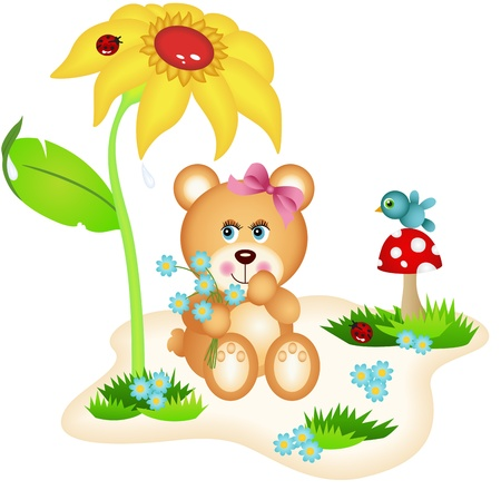Teddy bear picking flowers Vector