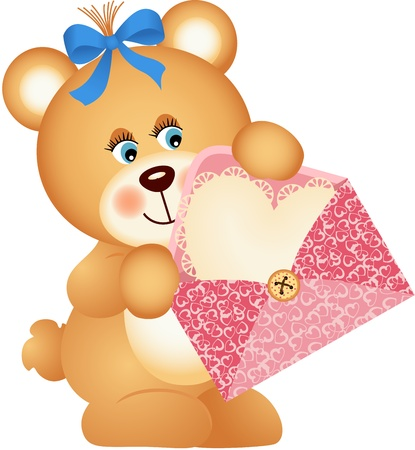 Teddy bear with envelope and heart Vector
