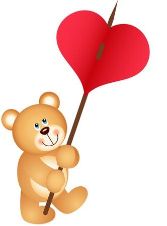 carries: Teddy bear carries heart Illustration
