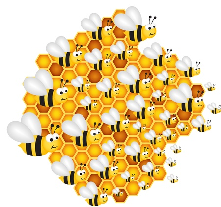 Bees filling the hive cells Vector