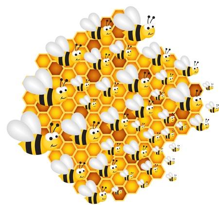 abeja caricatura: Las abejas llenan las c�lulas colmena