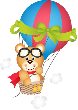Hot air balloon with teddy bear Vector